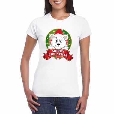 Goedkope fout kerstmis shirt met ijsbeer voor dames