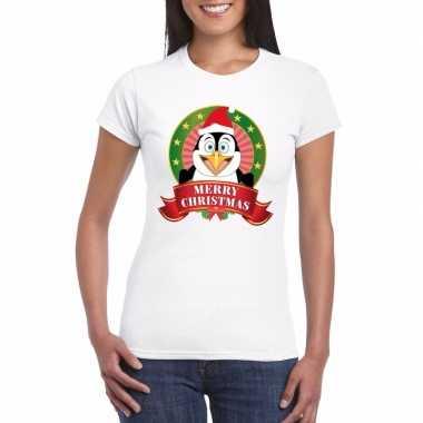 Goedkope fout kerstmis shirt met pinguin print voor dames