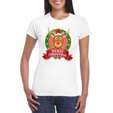 Goedkope fout kerstmis shirt met rendier rudolf voor dames