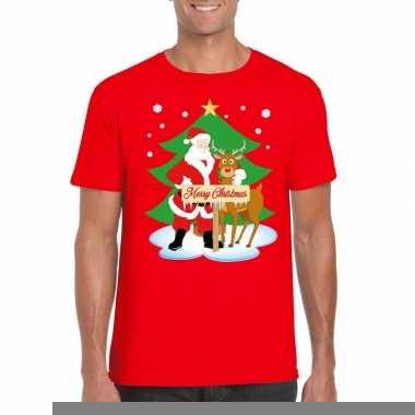 Goedkope fout kerstmis shirt rood met de kerstman en rudolf voor here