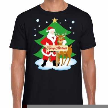 Goedkope fout kerstmis shirt zwart met de kerstman en rudolf voor her