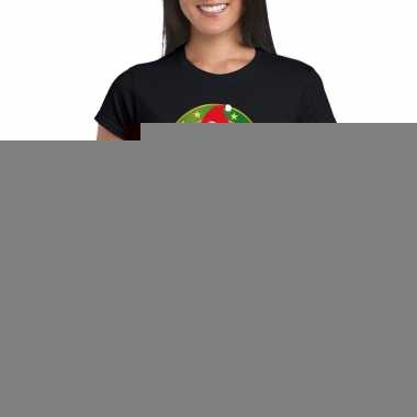 Goedkope fout kerstmis shirt zwart met ijsbeer voor dames