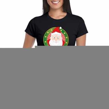 Goedkope fout kerstmis shirt zwart met kerstman print voor dames