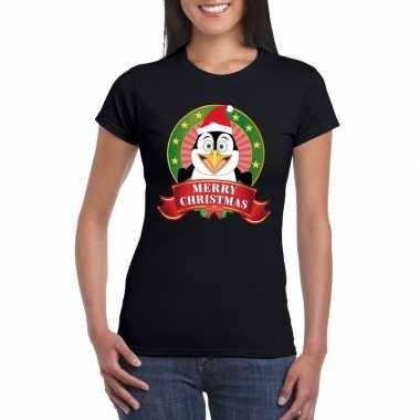 Goedkope fout kerstmis shirt zwart met pinguin print voor dames