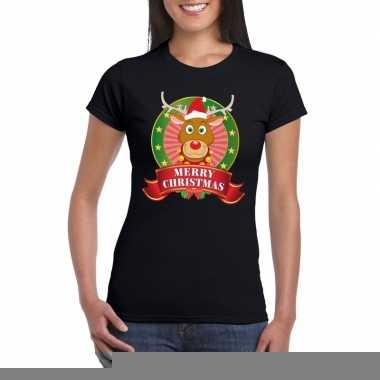 Goedkope fout kerstmis shirt zwart met rendier rudolf voor dames