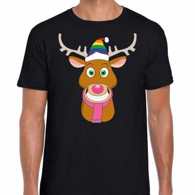 Goedkope fout kerstmis t shirt zwart gay ruldolf regenboog muts en ro