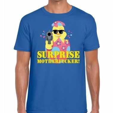Goedkope fout pasen shirt blauw surprise motherfucker voor heren