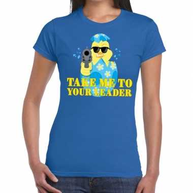 Goedkope fout pasen shirt blauw take me to your leader voor dames