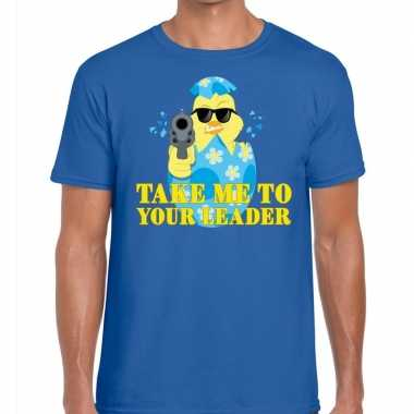 Goedkope fout pasen shirt blauw take me to your leader voor heren