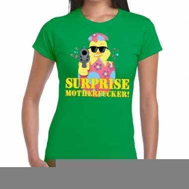 Goedkope fout pasen shirt groen surprise motherfucker voor dames