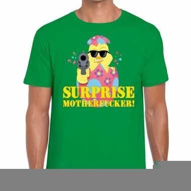 Goedkope fout pasen shirt groen surprise motherfucker voor heren