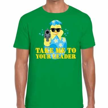 Goedkope fout pasen shirt groen take me to your leader voor heren