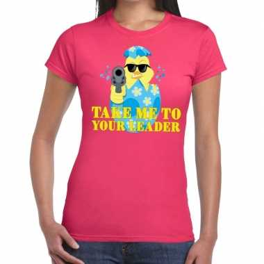 Goedkope fout pasen shirt roze take me to your leader voor dames