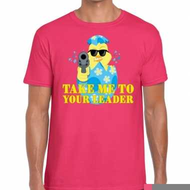 Goedkope fout pasen shirt roze take me to your leader voor heren