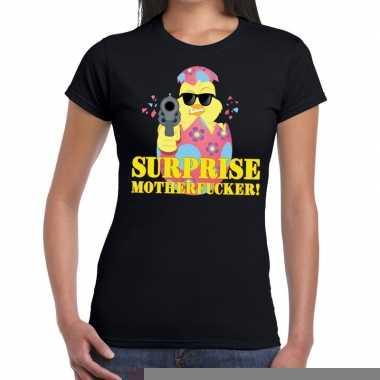 Goedkope fout pasen shirt zwart surprise motherfucker voor dames
