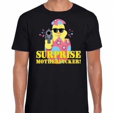 Goedkope fout pasen shirt zwart surprise motherfucker voor heren