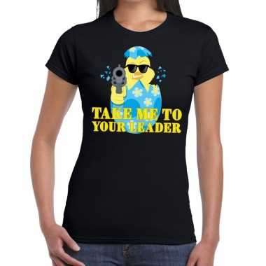 Goedkope fout pasen shirt zwart take me to your leader voor dames