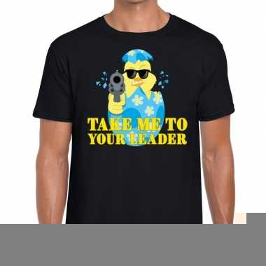 Goedkope fout pasen shirt zwart take me to your leader voor heren