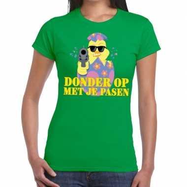 Goedkope fout pasen t shirt groen donder op met je pasen voor dames