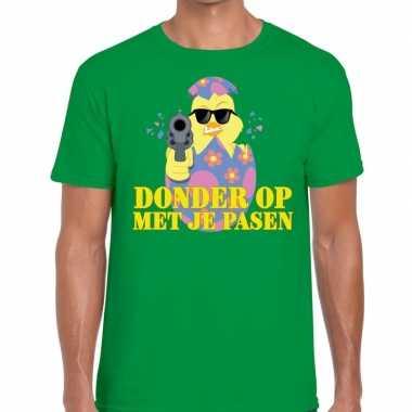 Goedkope fout pasen t shirt groen donder op met je pasen voor heren