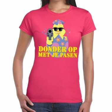 Goedkope fout pasen t shirt roze donder op met je pasen voor dames