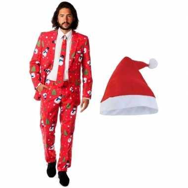 Goedkope foute kerst opposuits pakken/kostuums met kerstmuts maat 54