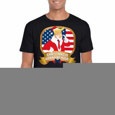 Goedkope foute kerst shirt donald trump zwart christmas is gonna be h