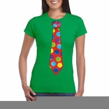 Goedkope foute kerst shirt met kerstballen stropdas groen voor dames