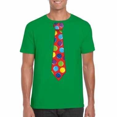 Goedkope foute kerst shirt met kerstballen stropdas groen voor heren