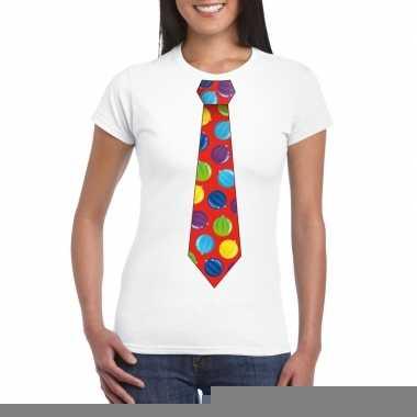 Goedkope foute kerst shirt met kerstballen stropdas wit voor dames