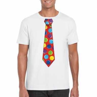 Goedkope foute kerst shirt met kerstballen stropdas wit voor heren