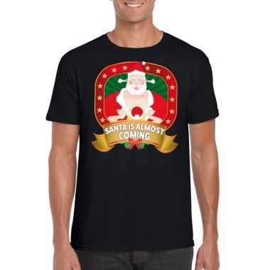 Goedkope foute kerst shirt santa is almost coming heren