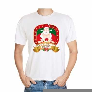 Goedkope foute kerst shirt santa is almost coming heren