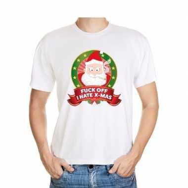 Goedkope foute kerst shirt wit fuck off i hate x mas voor heren