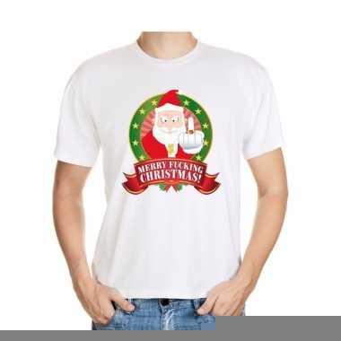 Goedkope foute kerst shirt wit merry fucking christmas voor heren