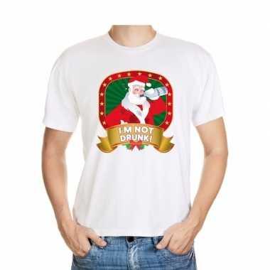 Goedkope foute kerst shirt wit met dronken kerstman voor heren