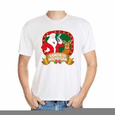 Goedkope foute kerst shirt wit santa is no vegan voor heren
