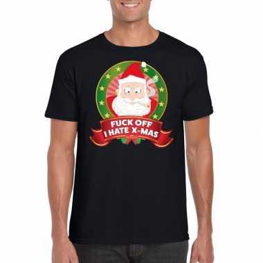 Goedkope foute kerst shirt zwart fuck off i hate x mas voor heren