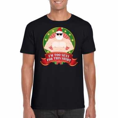 Goedkope foute kerst-shirt zwart im too sexy for this shirt voor heren
