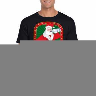 Goedkope foute kerst shirt zwart met dronken kerstman voor heren