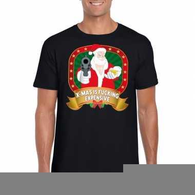 Goedkope foute kerst shirt zwart x mas is fucking expensive voor here
