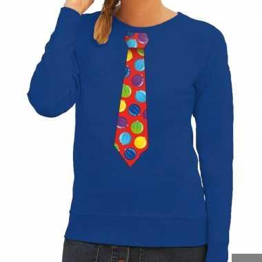 Goedkope foute kerst sweater met kerstballen stropdas blauw voor dame