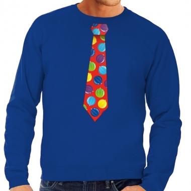 Goedkope foute kerst sweater met kerstballen stropdas blauw voor here