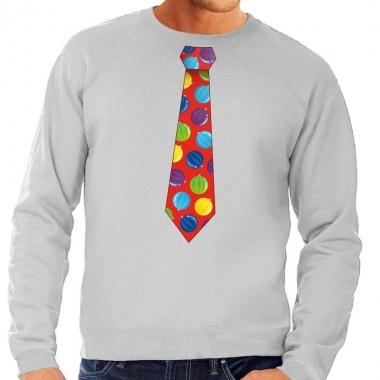 Goedkope foute kerst sweater met kerstballen stropdas grijs voor here