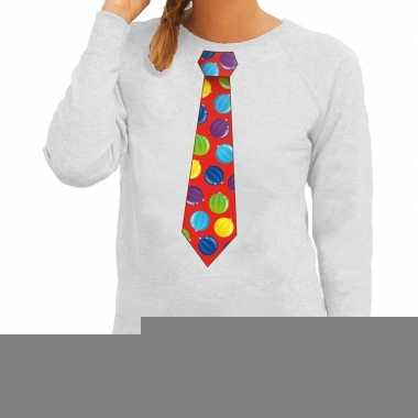 Goedkope foute kerst sweater met kerstballen stropdas groen voor dame