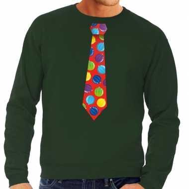 Goedkope foute kerst sweater met kerstballen stropdas groen voor here