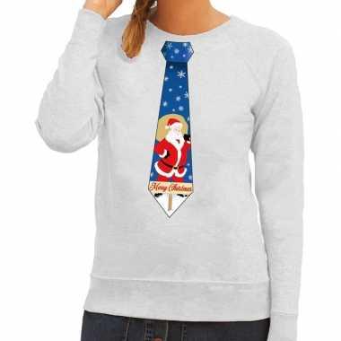 Goedkope foute kerst sweater met kerstman stropdas grijs voor dames