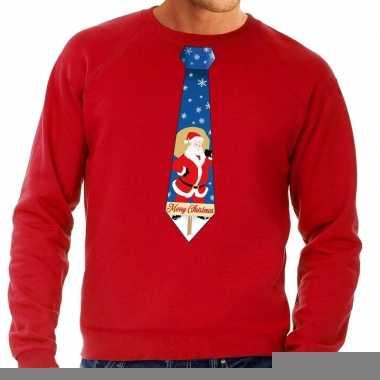 Goedkope foute kerst sweater met kerstman stropdas rood voor heren