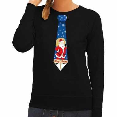 Goedkope foute kerst sweater met kerstman stropdas zwart voor dames