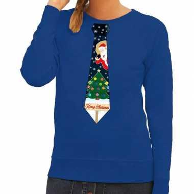 Goedkope foute kerst sweater met kerstmis stropdas blauw voor dames